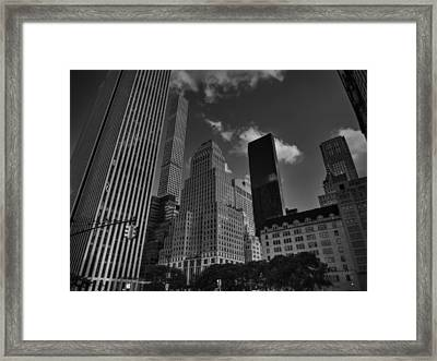 5th Ave. At Central Park South 001 Bw Framed Print
