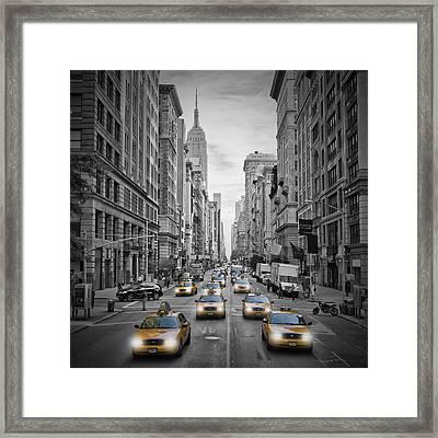5th Avenue Nyc Traffic Framed Print by Melanie Viola