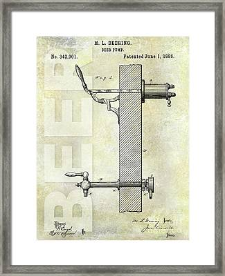 1886 Beer Pump Patent Framed Print