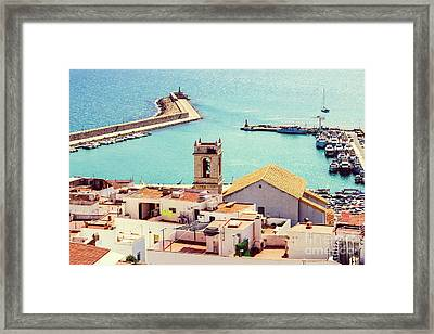 Aerial Panoramic View Of Peniscola City In Spain Framed Print by Radu Bercan