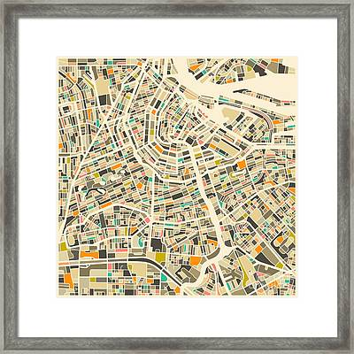Amsterdam Map Framed Print by Jazzberry Blue