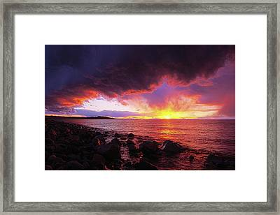 Framed Print featuring the photograph Antelope Island Sunset by Norman Hall