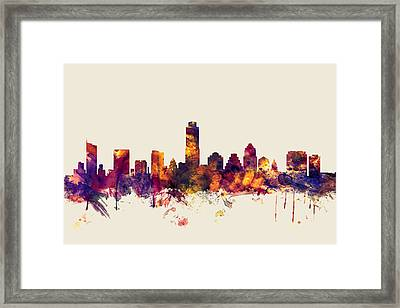 Austin Texas Skyline Framed Print by Michael Tompsett