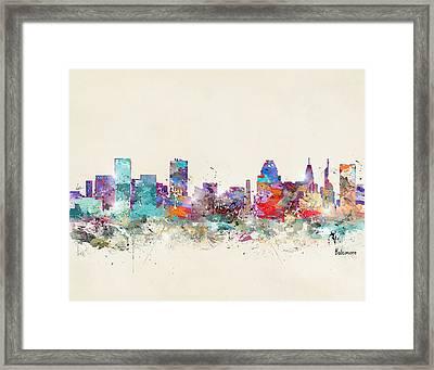 Baltimore Maryland Skyline Framed Print by Bri B
