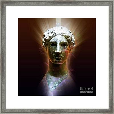 Bronze Head Of Nike  Framed Print by Humorous Quotes