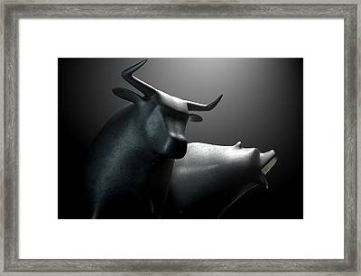 Bull Versus Bear Framed Print by Allan Swart