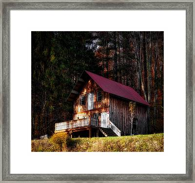 Cabin In The Woods Framed Print by Mountain Dreams