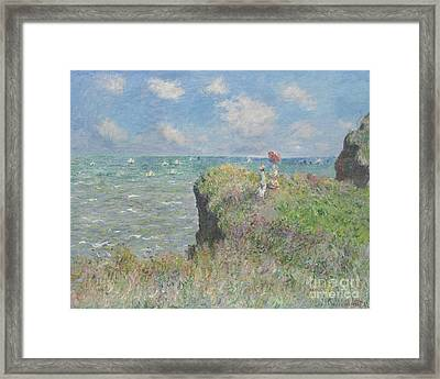 Cliff Walk At Pourville Framed Print by Claude Monet