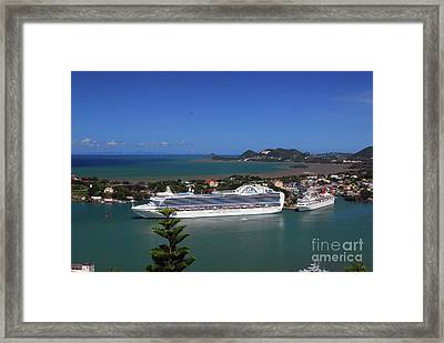 Framed Print featuring the photograph Cruise Ship In Port by Gary Wonning