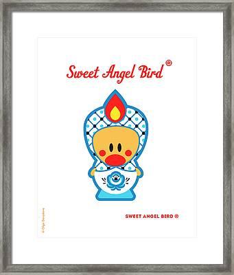 Cute Art - Blue And White Flower Folk Art Sweet Angel Bird In A Matryoshka Costume Wall Art Print Framed Print
