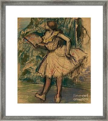 Dancer With A Fan Framed Print by Edgar Degas