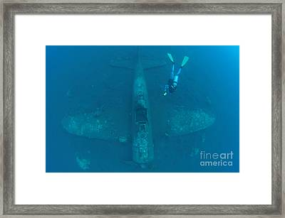 Diver Explores The Wreck Framed Print