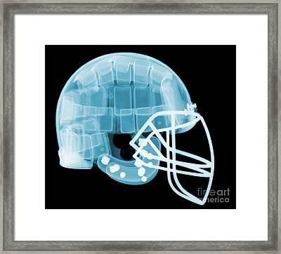 Football Helmet X-ray Framed Print by Ted Kinsman