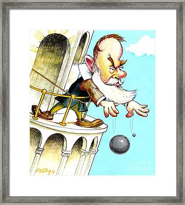 Galileos Falling Bodies Experiment Framed Print by Gary Brown