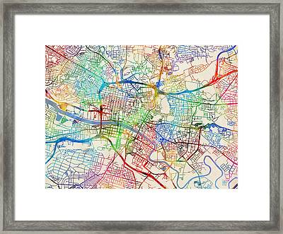 Glasgow Street Map Framed Print