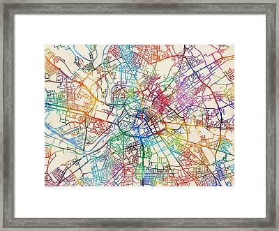 Manchester England Street Map Framed Print by Michael Tompsett