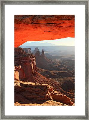 Mesa Arch Sunrise In Canyonlands National Park Framed Print by Pierre Leclerc Photography