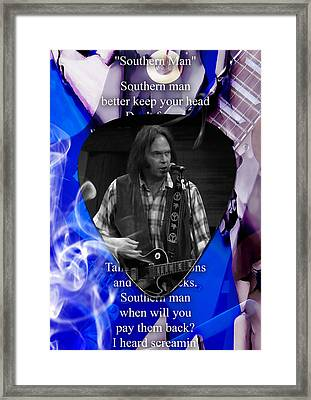 Neil Young Art Framed Print by Marvin Blaine