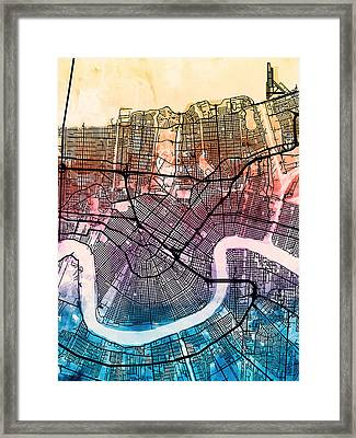 New Orleans Street Map Framed Print