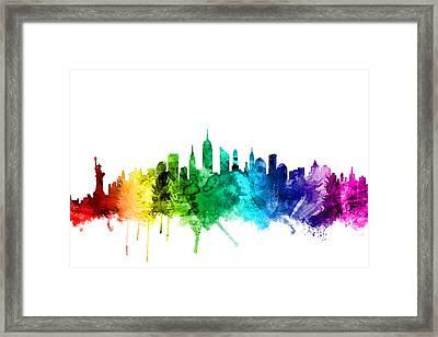 New York City Skyline Framed Print by Michael Tompsett