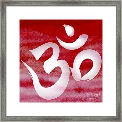 Om Symbol. Red And White Framed Print