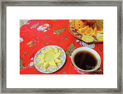 On The Eve Of Christmas. Tea Drinking With Cheese. Framed Print by Mariia Kilina
