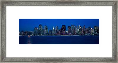 Panoramic View Of Lower Manhattan Framed Print