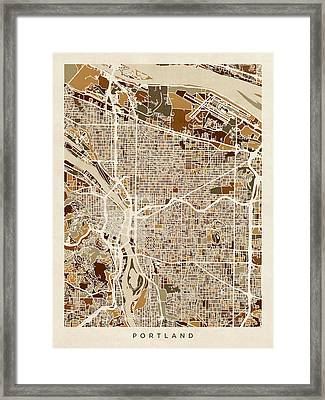 Portland Oregon City Map Framed Print