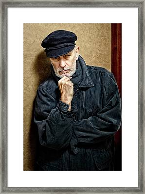 Portrait Of A Man With Beard And A Cap Framed Print