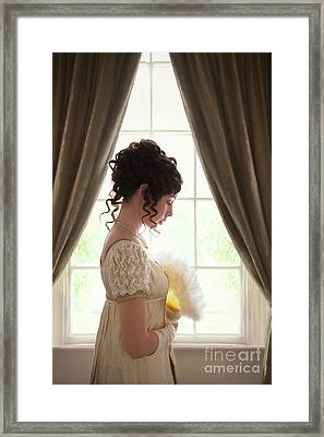 Regency Woman At The Window Framed Print by Lee Avison