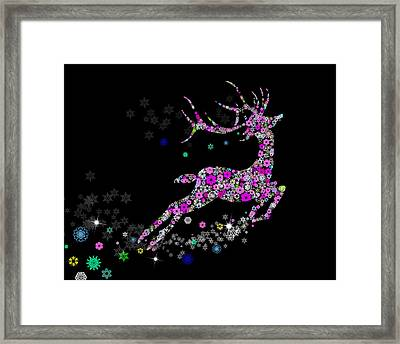 Reindeer Design By Snowflakes Framed Print