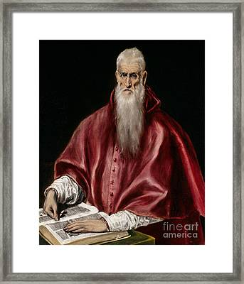 Saint Jerome As Scholar Framed Print by El Greco