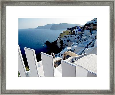 Santorini Framed Print by Leena Kewlani