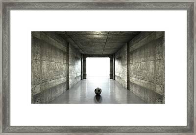 Soccer Ball Sports Stadium Tunnel Framed Print by Allan Swart