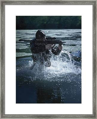 Special Operations Forces Soldier Framed Print by Tom Weber