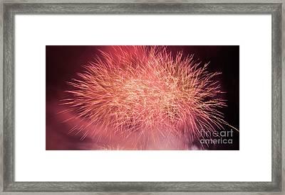 Spectacular Fireworks Show Light Up The Sky. New Year Celebration. Framed Print