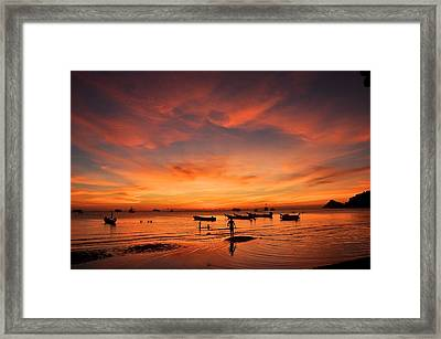Sunrise On Koh Tao Island In Thailand Framed Print by Tamara Sushko