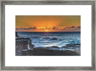 Sunrise Seascape With Sun Framed Print