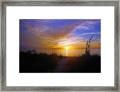 Sunset At Delnor Wiggins Pass State Park In Naples, Fl Framed Print