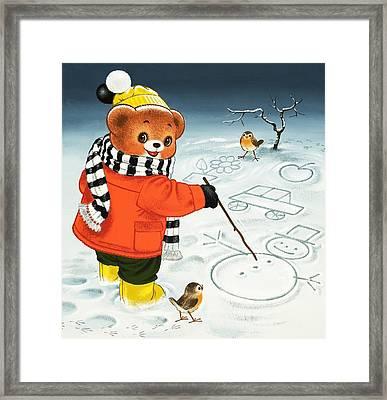Teddy Bear Christmas Card Framed Print