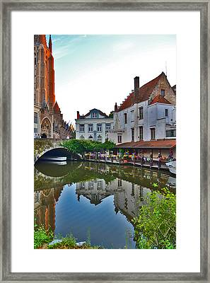 The Quiet Waters Of The Canals Of Bruges. Framed Print