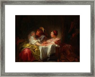 Framed Print featuring the painting The Stolen Kiss by Jean-Honore Fragonard