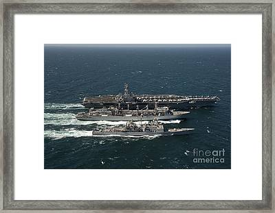 Underway Replenishment At Sea With U.s Framed Print
