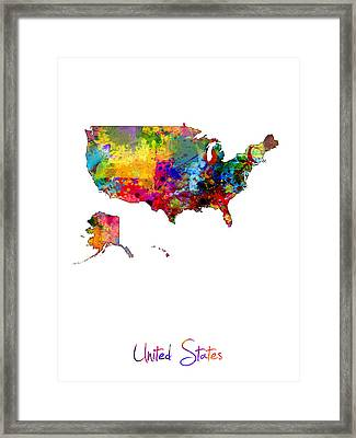 United States Watercolor Map Framed Print by Michael Tompsett