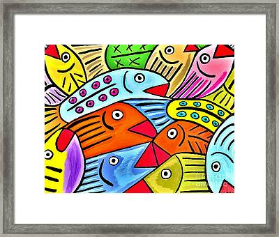 Whimsical Colorful Fish Framed Print