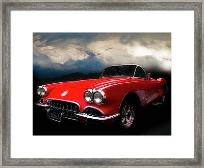 60 Corvette Roadster In Red Framed Print