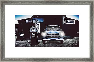 60s Australian Fc Holden Parked At Old Garage Framed Print by Jorgo Photography - Wall Art Gallery