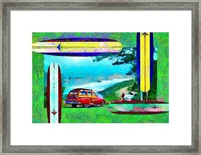 60's Surfing Framed Print by Caito Junqueira