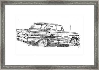61 Galaxie Sedan Sketch Framed Print
