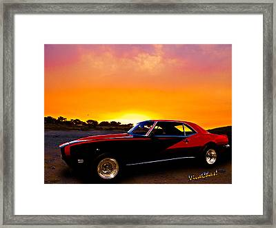 69 Camaro Up At Rocky Ridge For Sunset Framed Print
